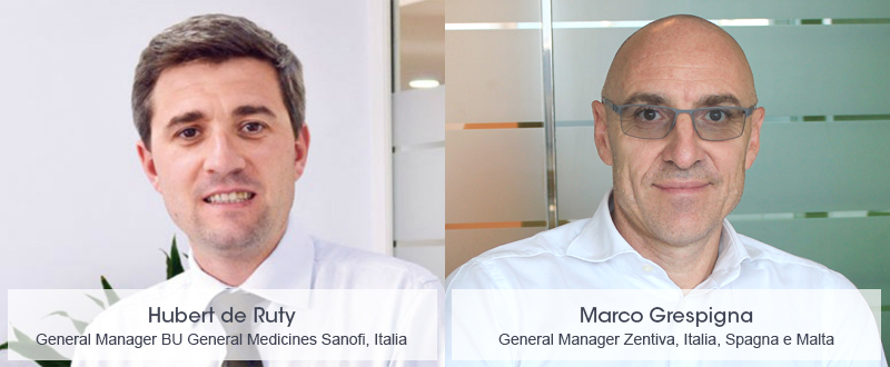 Sanofi ha annunciato la nomina di Hubert de Ruty a general manager della Business Unit General Medicines in Italia e di Marco Grespigna a general manager Zentiva in Italia